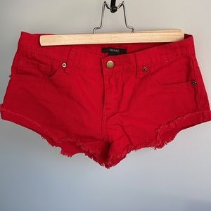 FOREVER21 Red Low-rise Jean Shorts